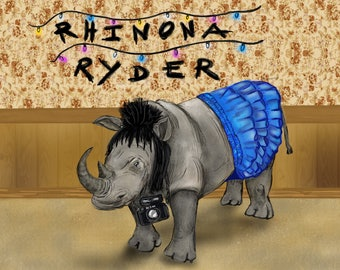 Rhinona Ryder Print Poster (Winona Ryder from Stranger Things, Beetlejuice and Heathers)