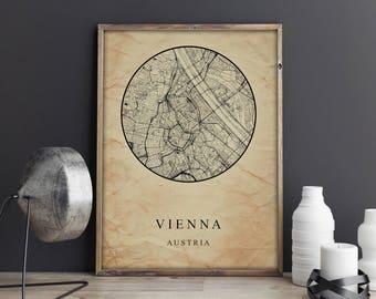 VIENNA Austria, Map Vienna Austria Poster City Map Vienna Austria Art Print Vienna Austria poster Vienna art Poster Vienna map,Printables