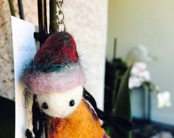 Doll keyring / zipper charm . Gift accessories .