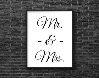 Mr and Mrs, Art Print, Digital Download, Wall Art, Quote, Printable, Instant Download, 8 X 10, Minimalist, Black and White, Typography