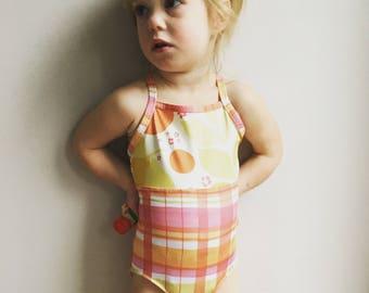 Girls One piece Swimsuit / Girls Swimwear / Toddler Girls Swimsuit / Pink Lemonade and Plaid Swimsuit