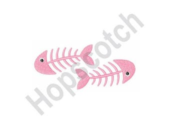 Fish Bones - Machine Embroidery Design - 4 X 4 Hoop, Cat, Trash, Garbage