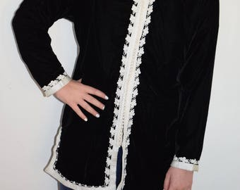 Stunning Bohemian Moroccan Tunic Jacket with Nehru Collar Black Velour  M