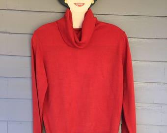 Rust Orange Turtleneck Sweater   Velma   Pull Over   Jumper   1960's 1970's   Vintage   Cowl Turtleneck   Size Small - Medium