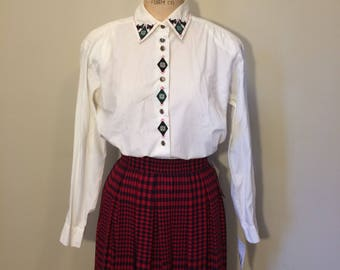 Preppy Scotty Dog and Snowflake Vintage Button Down Blouse by Koret   Size Small   Scottish Terrier