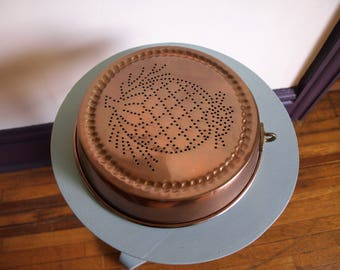 "Vintage Copper Tin Lined Short Bread / Cake Mold 9"" diameter"