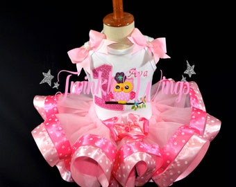 Owl 1st 2nd 3rd 4th 5th Birthday Party Outfit Dress Personalized Outfit Ribbon Tutu and Hair Bow Size 12M 24M 2T 3T 4T 5T 6T