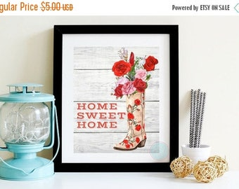 25% OFF SALE- PRINTABLE Art Home Sweet Home Rose Print Western Decor Kitchen Printable Watercolor Western Printable Art Print Boho Art Cotta