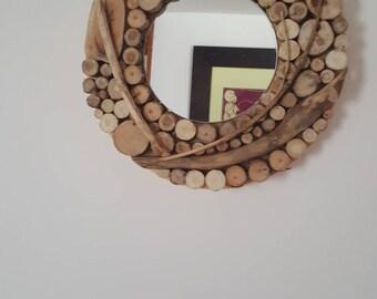 Small round decorative mirror original Driftwood log
