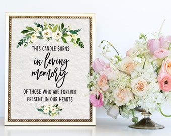 Memory Table Sign | In Loving Memory | Memory Table | Wedding Sign | Wedding Signage | Table Signs | In Memory Of Sign | Wedding Decor