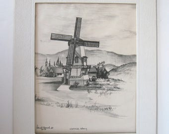 """Vintage Windmill Pencil Drawing """"First Mills, Solvang"""" by Donald Harrah 1969"""