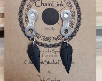 ChainLink Stud Earrings w/Tube Feather