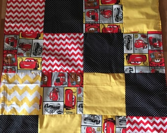Lightning mcqueen car Red Black Yellow minky red truck patchwork quilt blanket