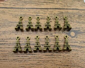 20 Little Eiffel Tower Charms, Antique Bronze Tone-RS690