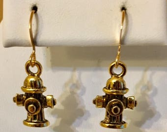 Fire Hydrant Antiqued Gold Plated Pewter Earrings