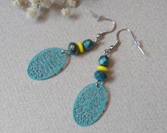 Earrings prints and beads turquoise blue and yellow