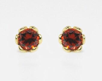 garnet earrings, garnet stud earrings, natural gemstone earrings, gemstone earrings stud, stud earrings solid gold, 3mm stud earrings