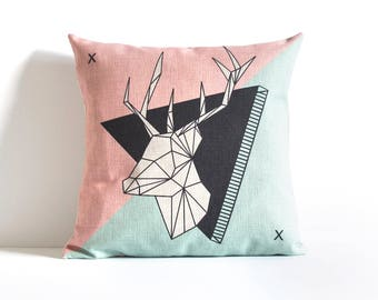 Pink Pillow Cover, Deer Pillow Cover, Decorative Pillow Cover, Pillow Covers, Throw pillow, Cushion Cover, Designer Pillow
