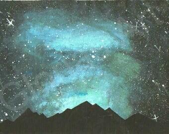 Blue Midnight Sky Mountins silhouette