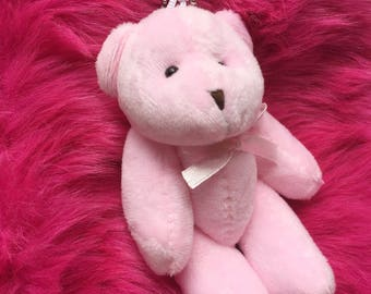 Plush pink teddy bear keychain