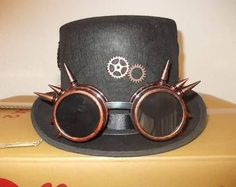 Gothic Steampunk Hut Hat Spiked Goggles Federn Size 60