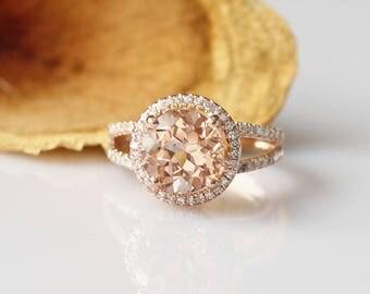 Delicate Ring!!8mm Round Morganite Ring 14k Rose Gold Engagement Ring Morganite Engagement Ring Rose Gold Ring Anniversary Ring Diamond Ring