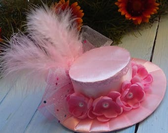 Mini Top Hat Headband Flower Top Hat Birthday Mini Hat Pink Mini Hat Mad Hatter Hat Tea Party Hat Alice in Wonderland Fascinator Baby Shower