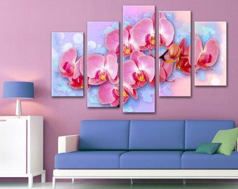 Wall decor 5 Panel Canvas  Photo Print on Canvas Orchid beautiful flowers canvas art Interior design Room Decoration Photo gift