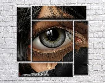 Art Print Wall Art, Eye Canvas Art, Interior Art, Living Room Wall Art, Sad eyes