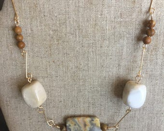 Hand wired agate, jasper, and mookite necklace W104