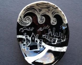 Underwater City - illustrated pottery, mythology, handmade porcelain ceramic dish, hand built tableware, mermaid, flood story, waves