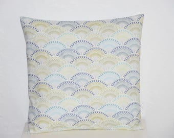 Pillow cover - 40 x 40 cm - fan Motifs - tones multicolors - Japanese spirit