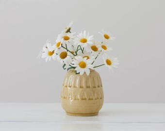 West Germany - Small Vase - Matte Yellow - Graphic Details  - No. 192/7 - German Midcentury