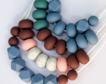 Silicone Necklace (winter blues on white)