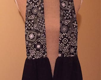Kitchen Neck Towel - Black and White paisley print