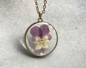 Purple/Yellow Pansy in slim Antique Bronze Open Back Bezel Resin Necklace, Resin Pendant, Pressed Flower, Flower Jewelry, Christmas