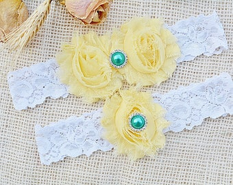 Light Yellow Garter, Yellow Garter Set, Bridal Garter, Yellow Wedding, Brides Garters, Bridal Clothing, Yellow Lingerie, White Lace Garter