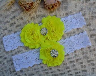 Yellow Garter, Wedding Garter Set, Bridal Garter Set, Lace Garter, Crystal Garter Set, Pearl Garter, Toss Garter Included, Vintage Wedding