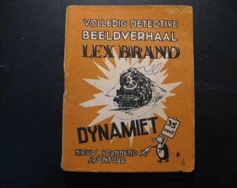 Vintage cartoon Lex Brand,Dynamiet... 1948