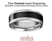 Mens Wedding Band, Tungsten Ring, Silver High Polish with Black Carbon Fiber Inlay 4mm,6mm,7mm,8mm,10mm,12mm, Tungsten Carbide Wedding Ring