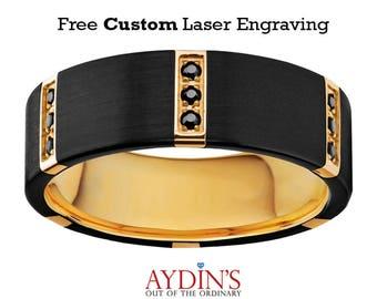 Black Diamond Wedding Ring - Tungsten Ring - Gold Tungsten Band - Black Tungsten - Multiple Black Diamonds - Tungsten Wedding Band - 8mm