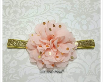 Peach and gold headband, peach and gold polka fluffy flower elastic headband, soft baby headband, toddler headband, photo prop