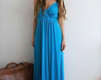 Vintage 70s Turquoise Maxi Dress - UK 10/12