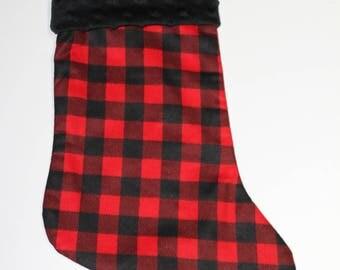 Red and black Plaid Christmas stocking