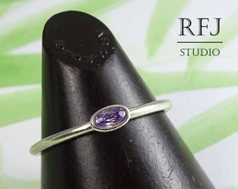 Oval CZ Amethyst Silver Ring, Oval Cut Simulant Amethyst Ring, Oval Purple Cubic Zirconia Ring, Stacking February Birthstone Sterling Ring