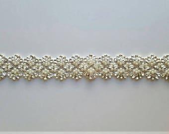 Wedding Sash Belt, Crystal Pearl Sash Belt = 19 inch long