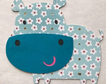 Hippo cut outs, hippopotamus die cuts, hippo die cuts, invitations, card making, hippo nursery decor.