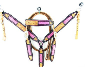 Western Barrel Show Horse Pink Bling Trail Leather Bridle Headstal Breastcollar