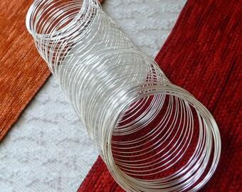 Memory Wire, Bracelet Wire, Wire Bracelet, 0.6x50mm Silver Color Round Memory Steel Wire, Wire Wrap Bracelet, Beading Wire