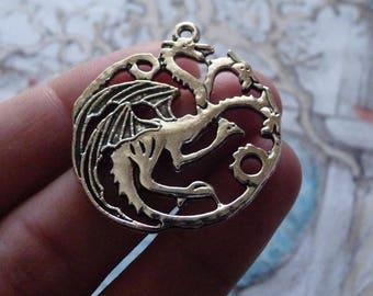 Dragon Charms, Dragon Pendants, Double Sided Dragon Charms, Necklace Charms, Animal Charms, Antique Silver Tone Dragon Charms